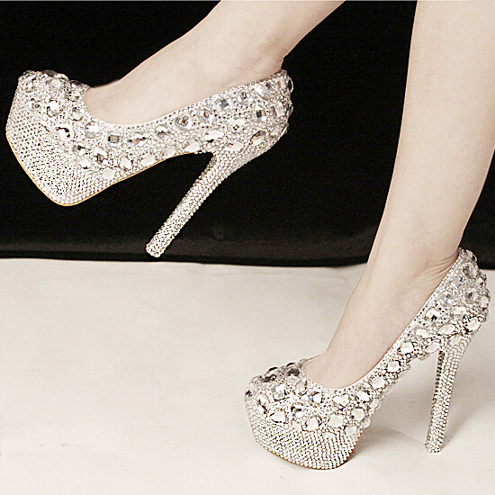 b634630978bc New Sale Gorgeous Fashion Silver High Heels Crystal Wedding Shoes Lady  Glitter Bridal Dress Shoes Graduation Party Prom Shoes