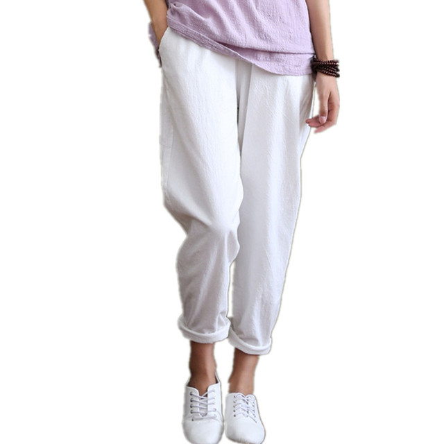 ee4ef1a318d Summer women flax solid color Elastic waist Linen cotton trousers Loose Casual  Harem Pants Female thin long Radish pants