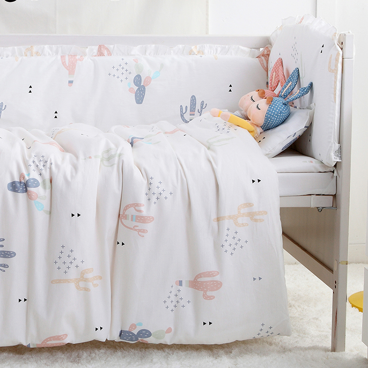 7PCS full Set Kids Baby Crib Bedding Sets for Girl Boys Cot Nordic Style Baby Crib Bumper Sets ,(4bumper+sheet+duvet +pillow)