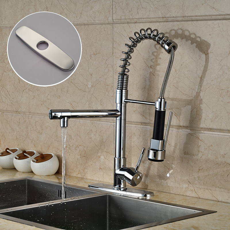 Chrome Dual Spout Pull Down Kitchen Sink Mixer Water Tap