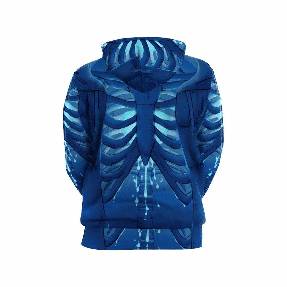 Skateboarding 3D outdoor Hoodies Women Men Sweatshirt with Hat Autumn Winter Tops Print Blue Skeleton Skull Pullover Hoodie in Skateboarding Hoodies from Sports Entertainment