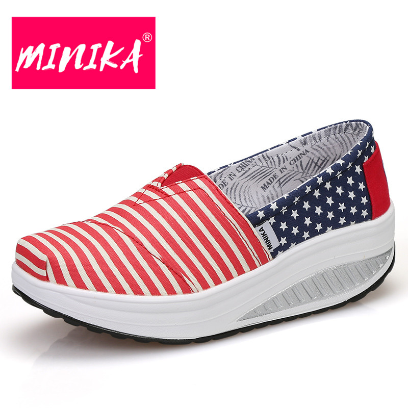 MINIKA High Quality Casual Shoes Women Fashion Gingham Pattern Women Loafers Shoes Slip On Shallow Platform Shoes Women 2017 high quaitily casual fashion 014