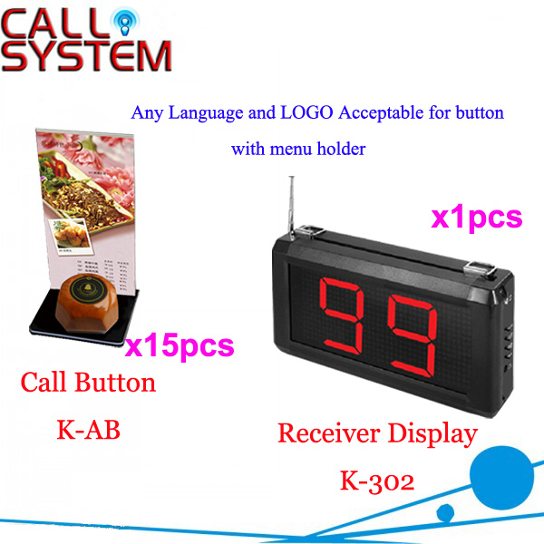 Wireless Call Button System for Restaurant Cafe Hotel Service Any Language Any LOGO Acceptalbe show 3 digit number Free Shipping new customer call button system for restaurant cafe hotel with 15 call button and 1 display shipping free