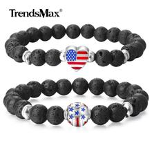 Natural Lava Stone Bracelet Mens Womens Essential Oil Diffuser Bracelet Love USA American Flag Heart Couple Jewelry DBM57(Hong Kong,China)