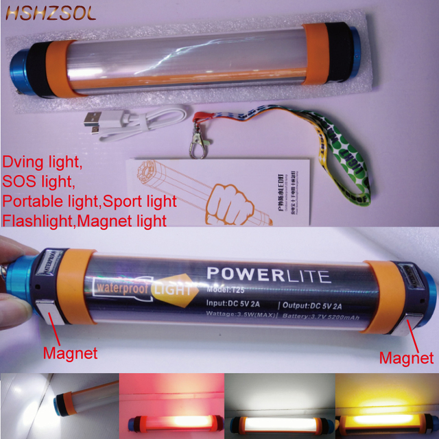 K25 Waterproof Flashlight Camping Lantern Emergency Light Diving USB  Rechargeable Portable IP68 Outdoor Clamp Hiking Sport