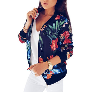 Image 3 - 2018 Women Coat Retro Floral Print Zipper Up Jacket Casual Coat Autumn Long Sleeve Outwear Women Basic Jacket Bomber Famale 5XL