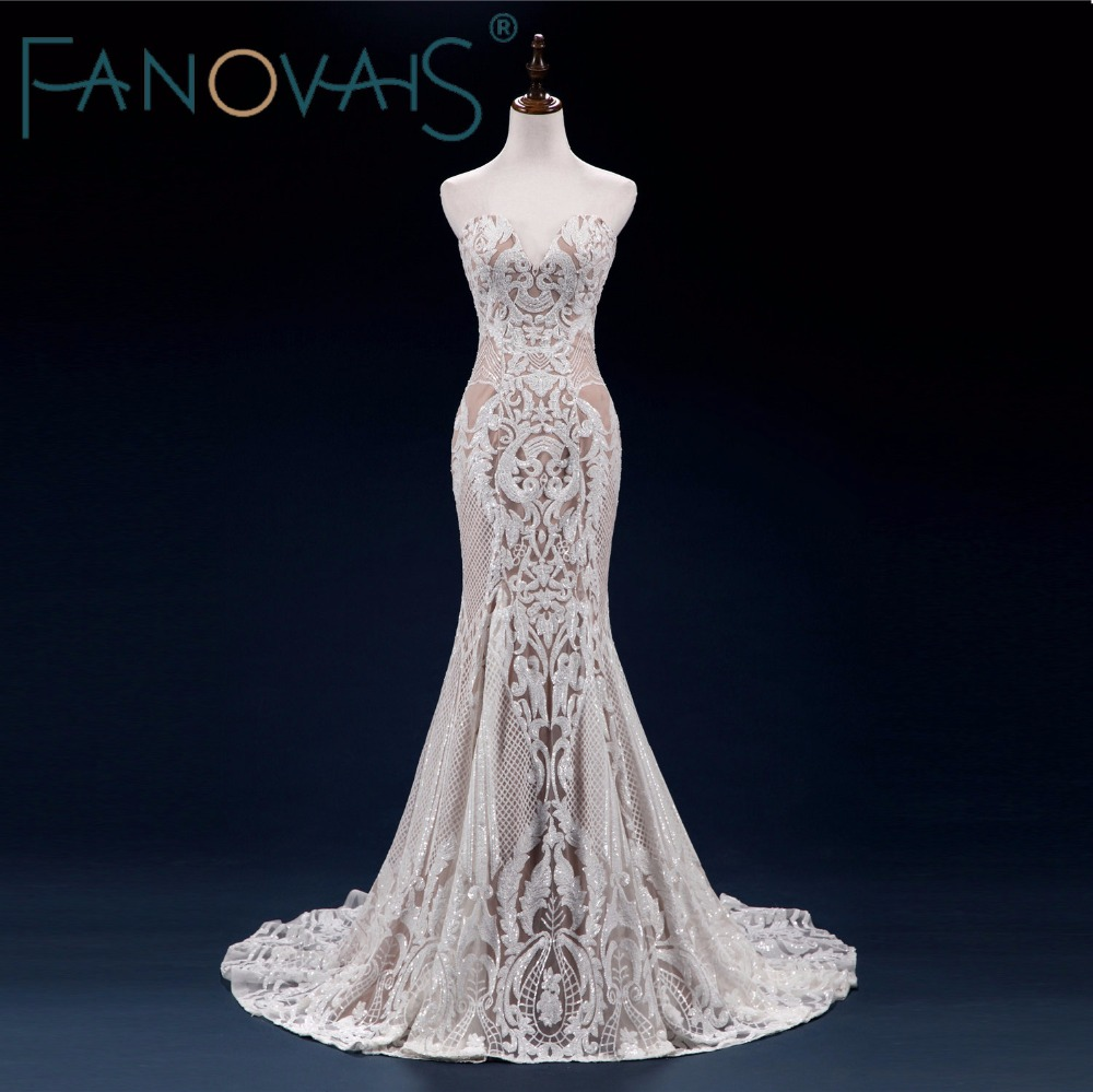 2018 Vintage Lace Mermaid Wedding Dress Turkey Vestido de Novia Sequin Lace Sheer Bridal Gowns Robe mariee Sexy Wedding Dresses