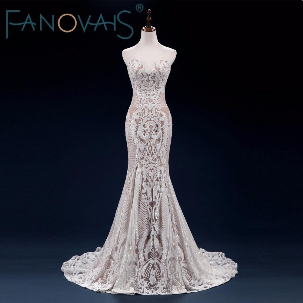 Vintage Lace Mermaid Wedding Dress Turkey Vestido de Novia Sequin Lace Sheer Bridal Gowns Robe mariee Sexy Wedding Dresses 2019