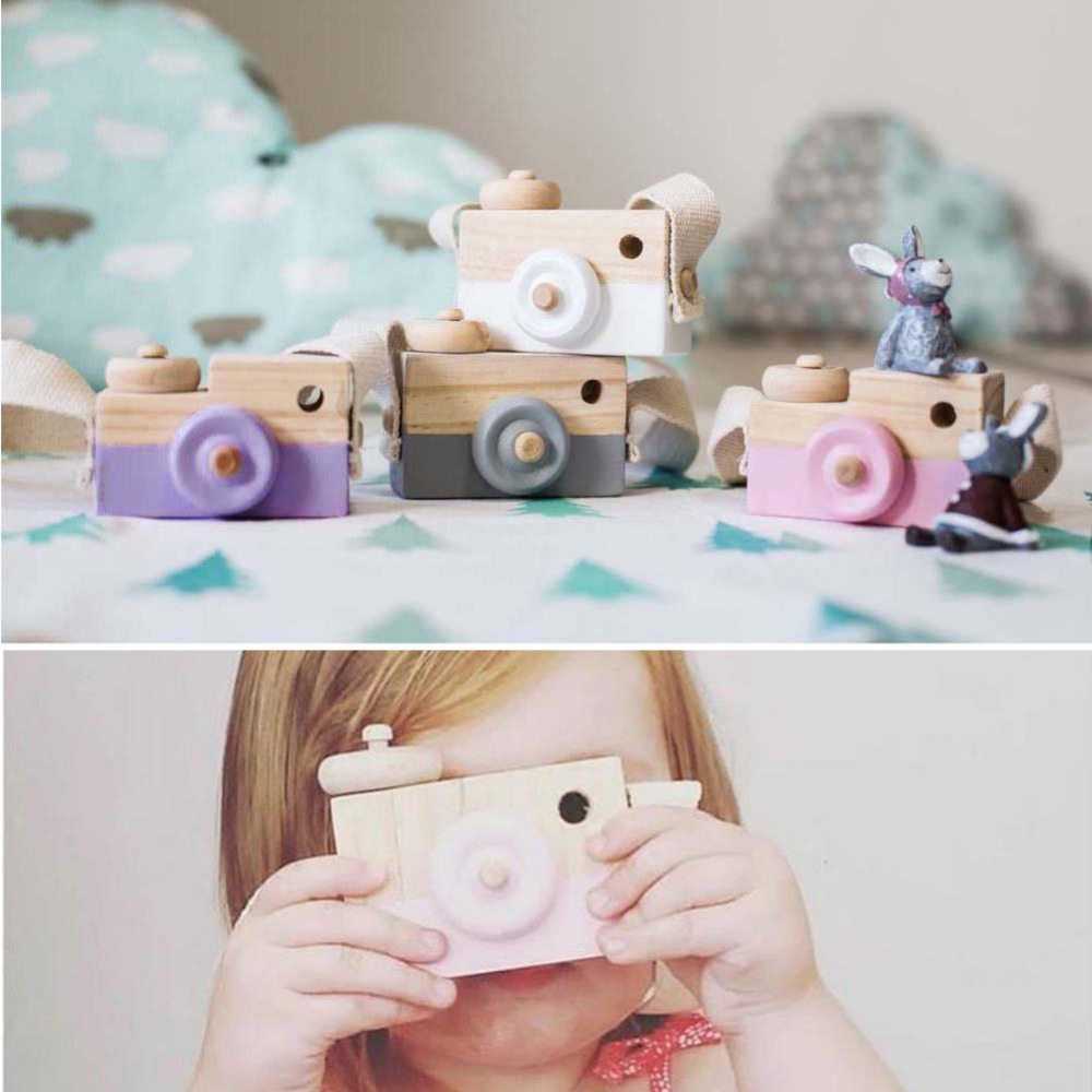 New Fashion Baby Kids Cute Wood Camera Toys Children Clothing Accessory Safe And Natural Kid Toys Birthday Christmas Gift