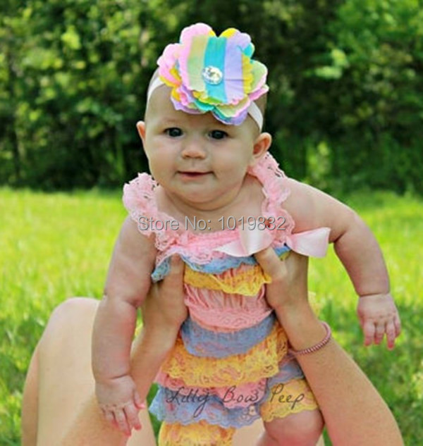 Baby Easter Romper Pink Blue Yellow Lace Petti Rompers Newborn Baby 1st  Easter Day Outfit Birthday Romper Baby Clothing c972fa9966c3