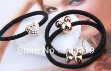 (3PCS) Fashion korea Elastic heart apple hair circle hair rope butterfly hair bands jewelry wholesale! New Fashion gift(China)