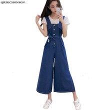 Qiukichonson calças de perna larga calças jeans soltas casual denim macacão feminino verão com laço cinto único breasted jag hem