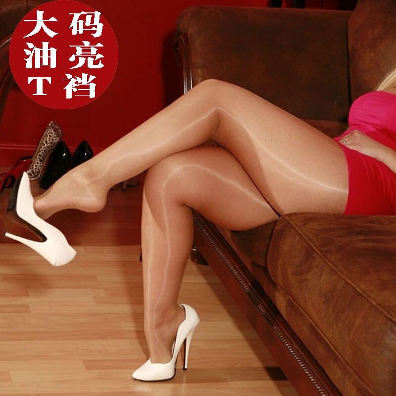 Seksowne przezroczyste rajstopy pończochy olejowe duże rozmiary cienkie pończochy rajstopy seksowna bielizna bielizna Stealth jedwabne pończochy XL