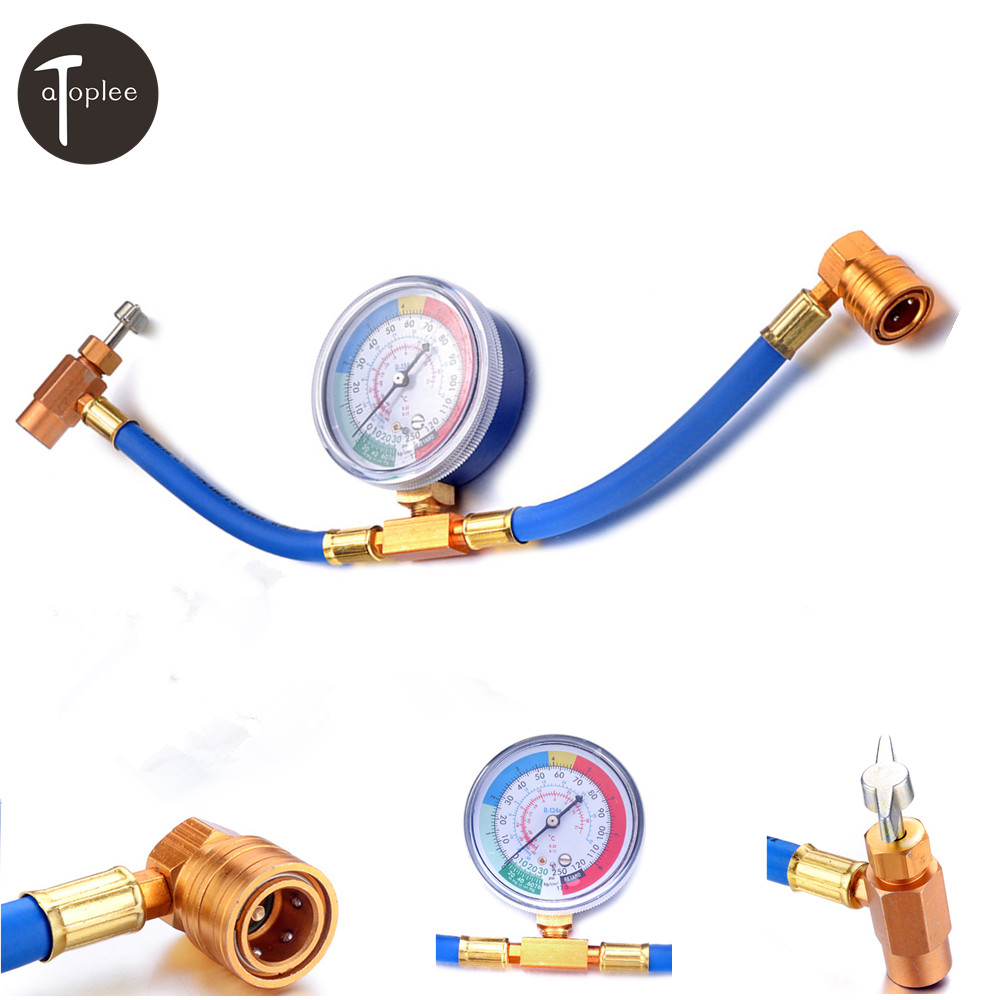 Car Air Conditioning Refrigerant R134A High Pressure Recharge Hose 1/2ACME Pressure Gauge Safety Valve Charging Hose 3pcs lot new r410 r22 air refrigeration charging adapter refrigerant retention control valve air conditioning charging valve