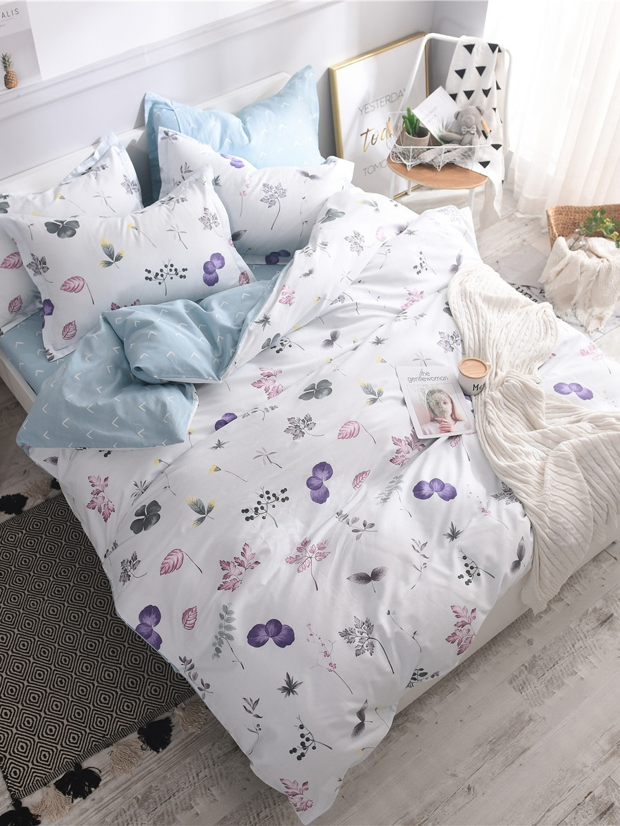 3/4Pcs Bedclothes Cover Fresh Style Leaves Flower Pattern Bedding Set 3/4Pcs Bedclothes Cover Fresh Style Leaves Flower Pattern Bedding Set