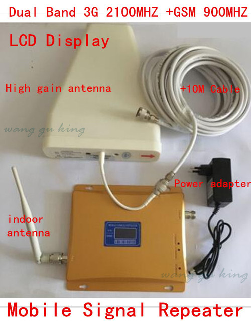 Display LCD Dual Band GSM 3G Reforço de Sinal De Celular GSM 900 mhz 3G UMTS 2100 mhz Celular Amplificador WCDMA 2100 Repetidor Extender