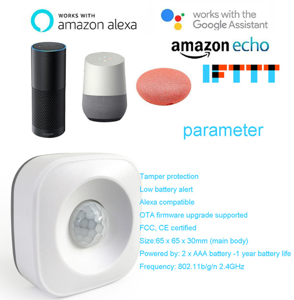 Smart WIFI PIR Motion Sensor Detector Homekit Human Body Sensors Home Security Kit Alarm Compatible With Alexa Google Home
