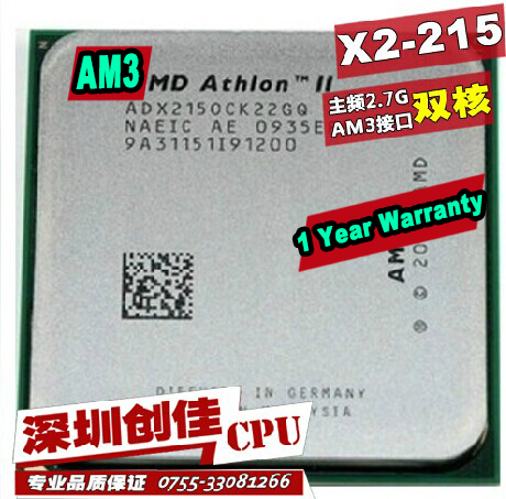 D'origine AMD Athlon II X2 215 2.4 GHz Dual-Core Socket AM3 Bureau CPU Processeur morceaux épars Double-core processeur