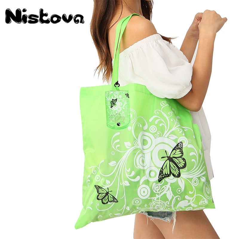 Foldable Reusable Butterfly Pattern Eco Shopping Bag Large Grocery Shoulder Bag Portable Storage HandBags Convenient Shoppers