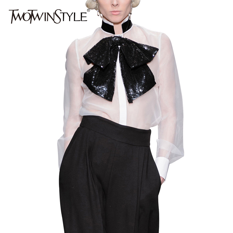 TWOTWINSTYLE Bow Sequins Shirt Ladies Stand Collar Lantern Sleeve Thin Blouse Tops 2018 Spring Womens Fashion OL Clothing