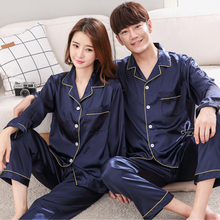 Herislim Silk Pajamas For Women And Men 2019 New Summer Couples Pajama Set Solid 2-Piece Homewear Satin Pijama Nighty Sleepwear