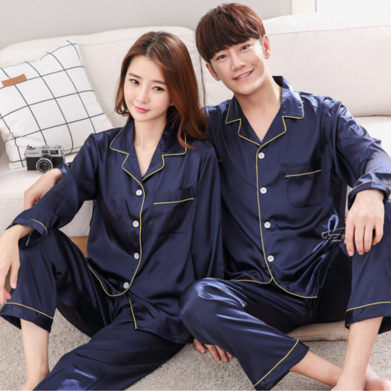 Herislim Silk   Pajamas   For Women And Men 2019 New Summer Couple's   Pajama     Set   Solid 2-Piece Homewear Satin Pijama Nighty Sleepwear