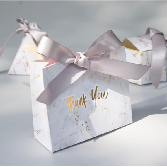 free shipping marble paper gift boxes foiling thank you bridal shower gift bags with ribbon yb88