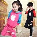 Moda niños ropa de niños ropa de niños y niñas de invierno traje de deporte conjunto niño chándal trajes desgaste adolescente pantalones set otoño