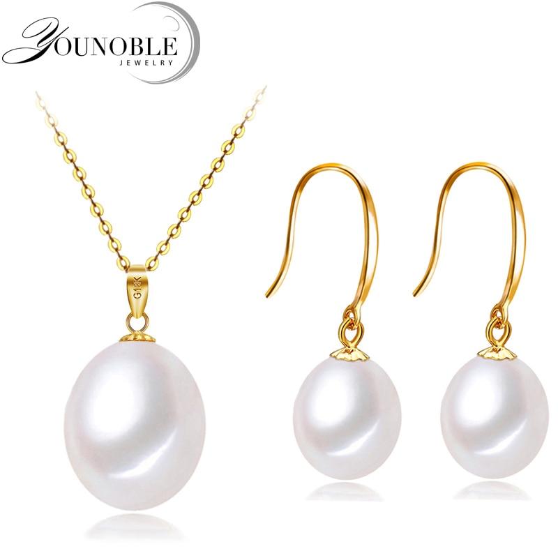 Mariage 18k or bijoux ensembles boucles d'oreilles femmes, pendentif en or avec 925 argent collier chaîne d'eau douce perle bijoux anniversaire