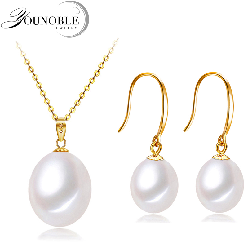 Wedding 18k gold jewelry sets earrings women,gold pendant with 925 silver necklace chain freshwater pearl jewelry anniversary цены