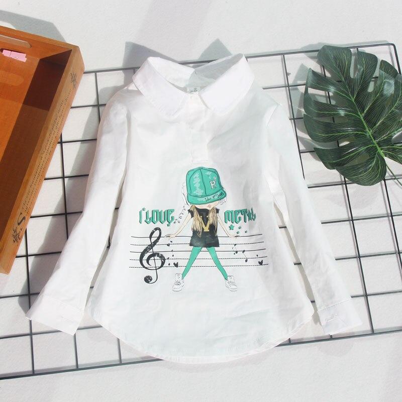 Camisas das meninas de Algodão Dos Desenhos Animados Crianças Camisas Para Uniformes Escolares Meninas Primavera Outono Manga Longa Branca Tops Roupas Crianças 2-15Y