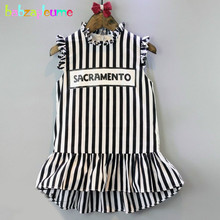 2-6Years/Summer Baby Girls Dresses Toddler Costume Casual Black Stripe Children Dress Korean Kids Clothes Infant Clothing BC1087