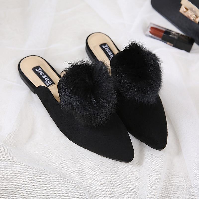 2017 Pom Pom Women Slippers Sandals Pointed Toe Slipony Shoes Faux Fur Chiara Ferragni Designer