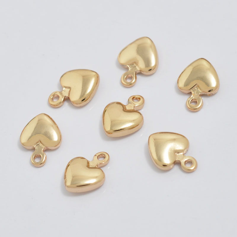 20PCS 4.5x6.5MM 5.5x7.5MM 7x9MM 9x11MM 24K Champagne Gold Color Plated Brass Heart Charms High Quality Diy Jewelry Accessories image