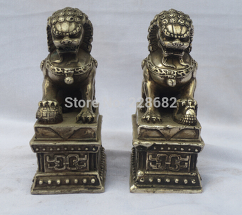 Collectible Decorated Old Handwork A Pair of Tibet Silver Carved lion statue/ Feng Shui lion Sculpture fast Shipping