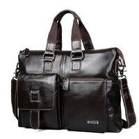 LUCKYERBEAUTY Business Bag for Men Genuine Leather Shoulder Bag Luxury Travel 15 Inch Briefcase Laptop Brand Crossbody Portfolio