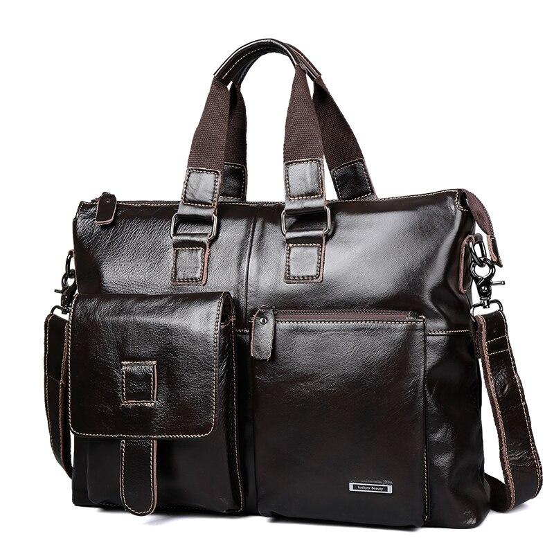 Lucky yerbeauty sac d'affaires pour hommes en cuir véritable sac à bandoulière de luxe voyage 15 pouces porte-documents ordinateur portable marque Crossbody portefeuille