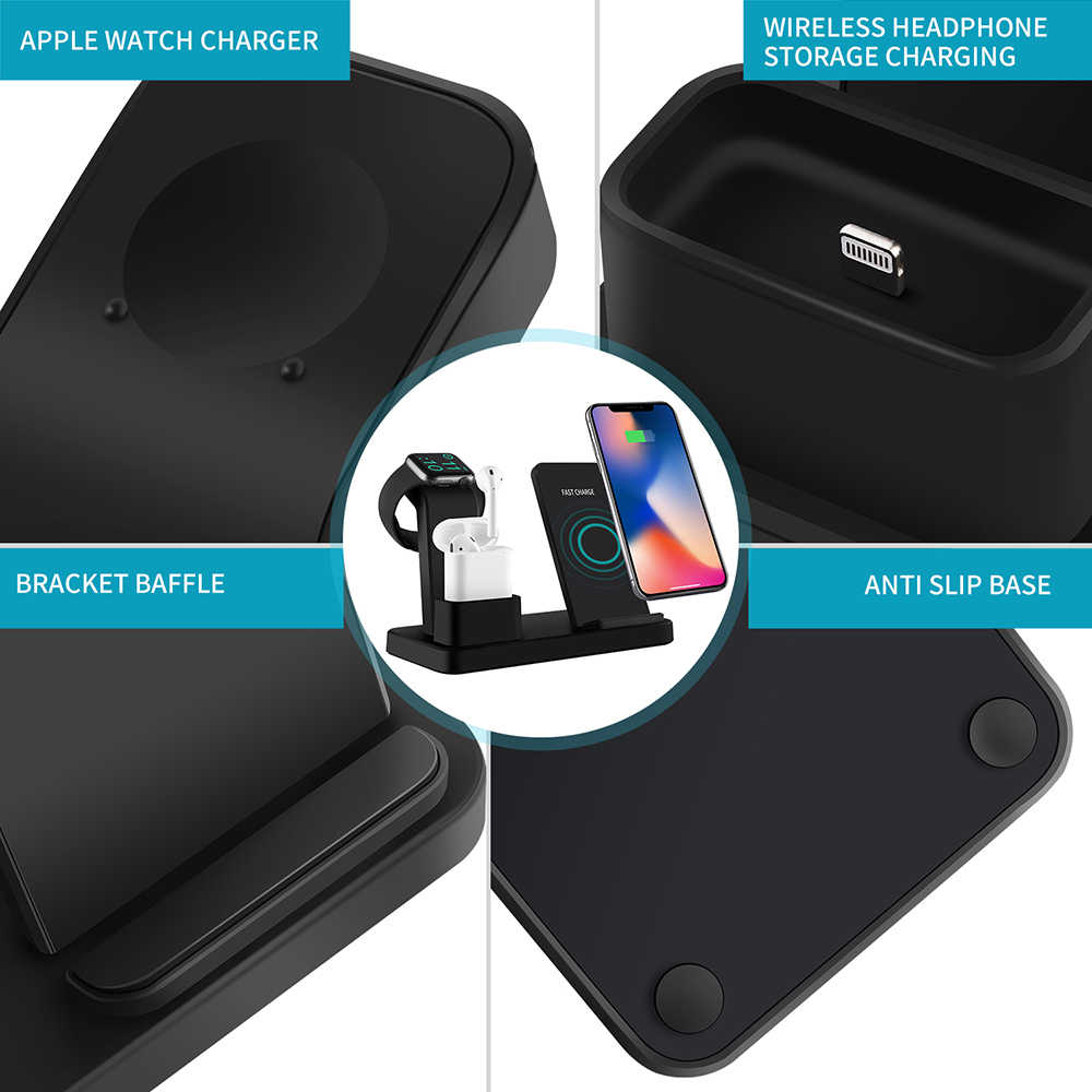 Image 5 - NYFundas Wireless Qi 3 in 1 Phone Holder Charger 10W For Apple Watch Series 4 3 2 Iphone XS Max XR 8 Plus X Iwatch Airpods Dock-in Phone Holders & Stands from Cellphones & Telecommunications