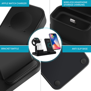 Image 5 - NYFundas Wireless Qi 3 in 1 Phone Holder Charger 10W For Apple Watch Series 4 3 2 Iphone XS Max XR 8 Plus X Iwatch Airpods Dock