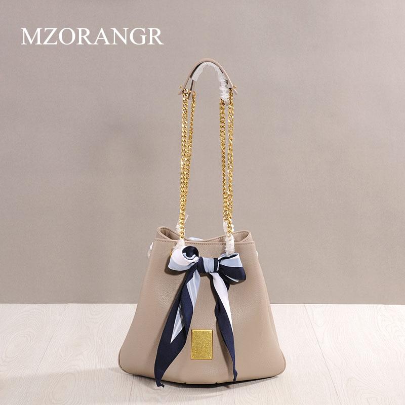 MZORANGE leather ladies shoulder bucket bag triangle chain bag luxury handbag designer famous Messenger bag triangle print patchwork organizer bucket