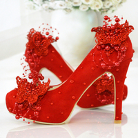 Wedding shoes red high heels pearl lace bridal shoes 11cm chinese style wedding dress shoes embroidery