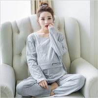 Maternity Nursing clothes Pregnant women pajamas cotton Autumn postpartum breastfeeding clothes home suit maternity pajama
