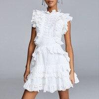 Белое элегантное Paty летнее платье для вечеринок от плеча собранное в сборки женское мини платье Сексуальная шея выдалбливают кружева вверх