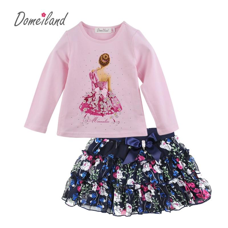 где купить 2017 Fashion Spring new brand Domeiland Outfits Baby clothes Girls Sets Rhinestone Princess Long Sleeve shirts Bow Skirts suits по лучшей цене