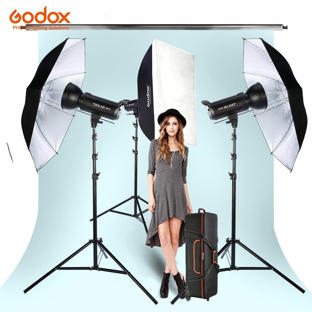 New Portable Godox 3x SK400 400Ws Photo Studio Flash Strobe Light 110v/220v with 50W Modeling Lamp Softbox,Light Stand kit godox gs300 50w xenon photo studio stage flash lamp strobe light black ac 200 240v