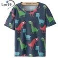 Женщины Динозавров Печати майка 2016 Летний Стиль майка Harajuku Коротким рукавом Динозавр Футболка Топы Тис Женская Одежда футболки