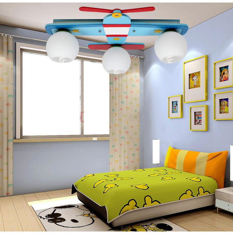 Plane Model Children S Bedroom Ceiling Lights Boy Room Lamps Gl Wood Creative Rural Cartoon Kids Lighting Blue Colors In From