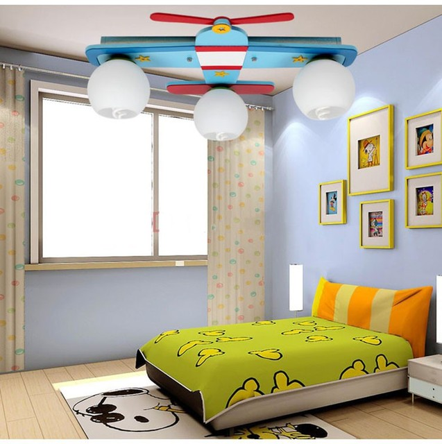 Plane Model Children S Bedroom Ceiling Lights Boy Room Lamps Gl Wood Creative Rural Cartoon Kids Lighting Blue Colors