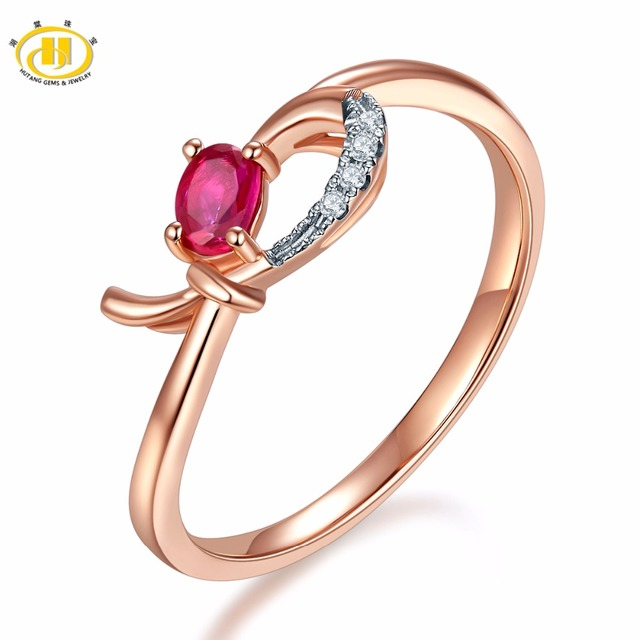 Hutang Natural Gemstone Ruby Diamond Solid 18K Rose Online
