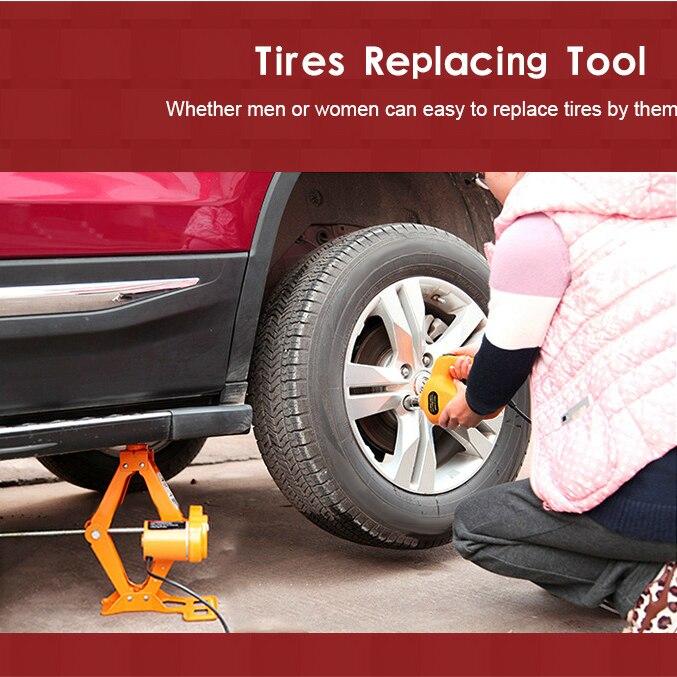 12 V voiture vérins électriques pneu outil de remplacement vérin hydraulique jeu de clé à chocs outil lumière LED Kit d'outils de réparation de levage automatique